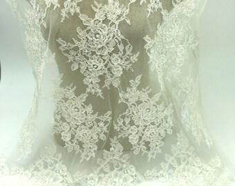 EVS162CB Beige Wedding Lace Fabric Beige Lace Beads