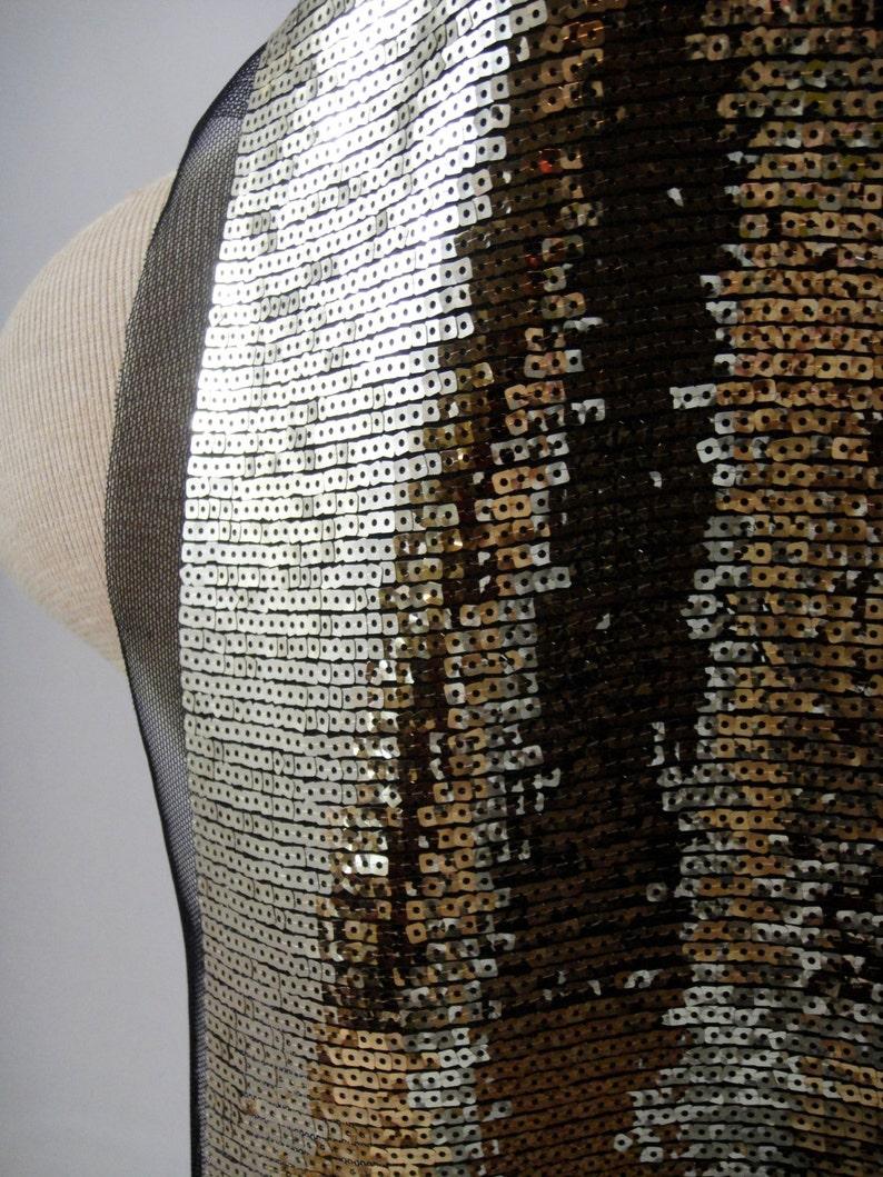 Gold Sequin Fabric E4-059 Black Tulle Stretch Fabric Gold Sequins Gold Fabric