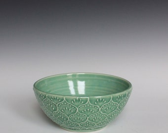 Porcelain Ceramic Bowl with Hand Painted Slip Trailed Pattern in Green Glaze, Wheel Thrown OOAK