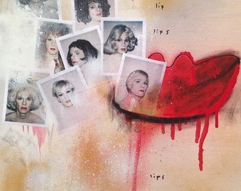 Lips - Original Painting on Wood by No Rush Imagery - an Homage to Andy Warhol - mixed media Street art expressionist original acrylic