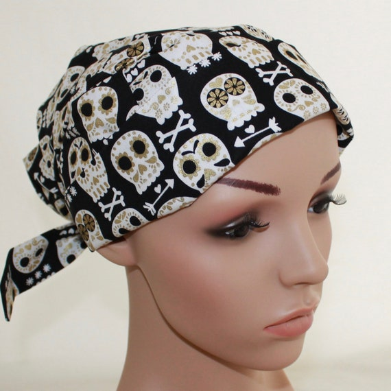 488c23572d2 Sugar Skulls Black Scrub Hat Surgical tie back Pleated