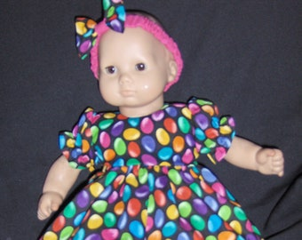 "Colorful Easter Jelly Bean  Dress, Pants and Headband Doll Clothes Made to Fit Bitty Baby and other 15"" Dolls B"
