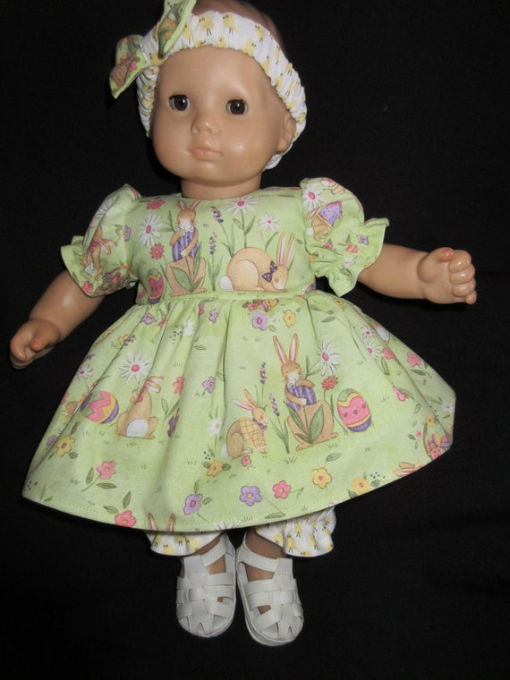 "Easter Bunny Dress 15/"" Doll Clothes Handmade to Fit American Girl  Bitty Baby A"