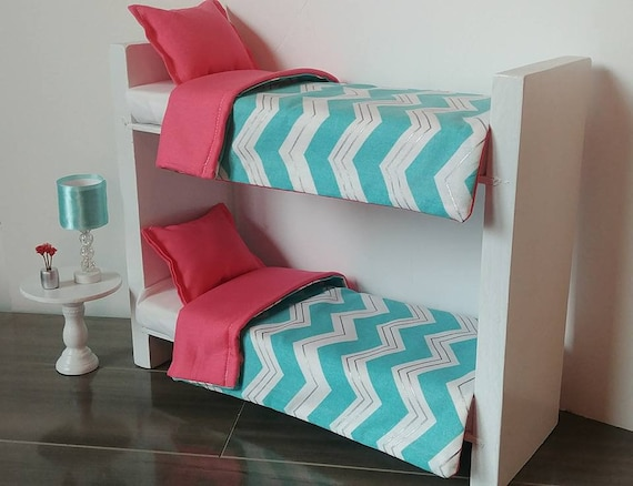 Doll Furniture For Fashion Dolls Like Barbie Bunk Bed Teal And Coral