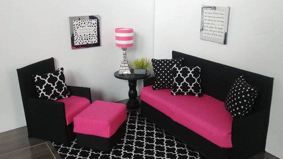 Excellent Playscale Furniture Sofa Chair Withottoman And Rug For Fashion Dolls Like Barbie Black Pink White Short Links Chair Design For Home Short Linksinfo