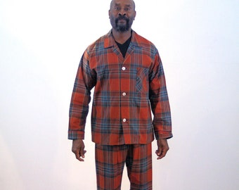 80s Men's Pajama Set M, Vintage Brown Plaid Flannel Pajamas Deadstock Sleep Shirt & Pants Botany 500, Medium