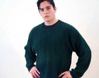 90s Eddie Bauer Sweater L, Green Sweater, Cotton Pullover, Cable Knit Men's Vintage Sweater, Eddie Bauer Jumper, Large