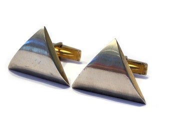Fake Cat Eye cufflinks men/'s Vintage cuff links triangle Gold /& brown colorway