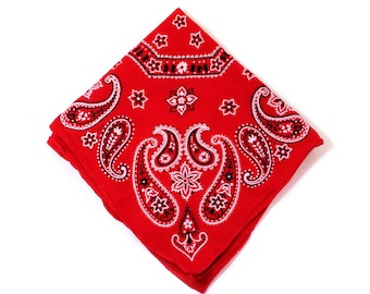 70s Red Bandanna, Vintage Cotton Western Classic Paisley Made in USA