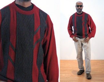 """80s Color Block Sweater L, Men's Vintage Two Tone Red Gray Ultrasuede Trim """"Norm Thompson"""" Pullover, Large"""