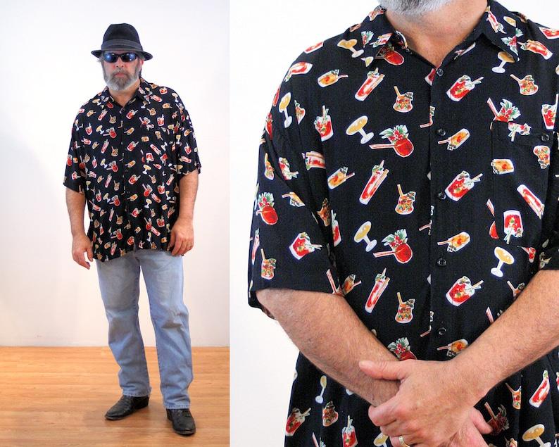 cea6ef1b 90s Novelty Print Tiki Shirt XXL Party Beverages Hawaiian | Etsy