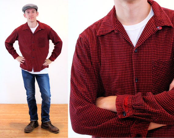 50s Checkered Flannel Shirt M, Red Black 1950s Roc