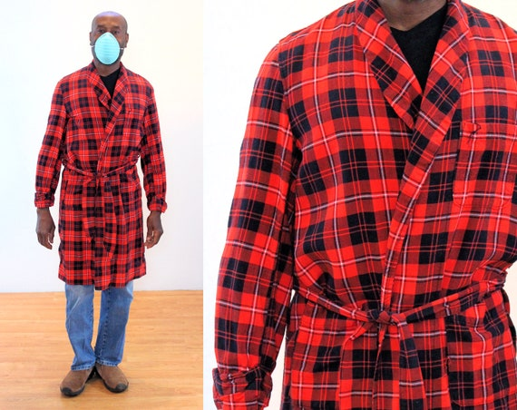 50s Dunella Bath Robe S, Men's Vintage Red Black S