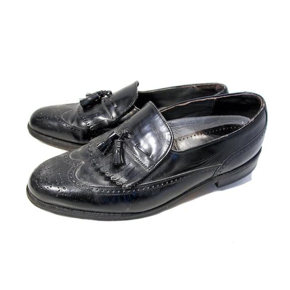 80s Kiltie Loafers 8.5 C, Dexter Men's Black Leath