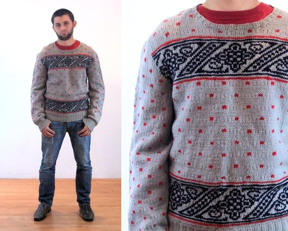 40s Wool Patterned Ski Sweater S, Vintage Men's 19