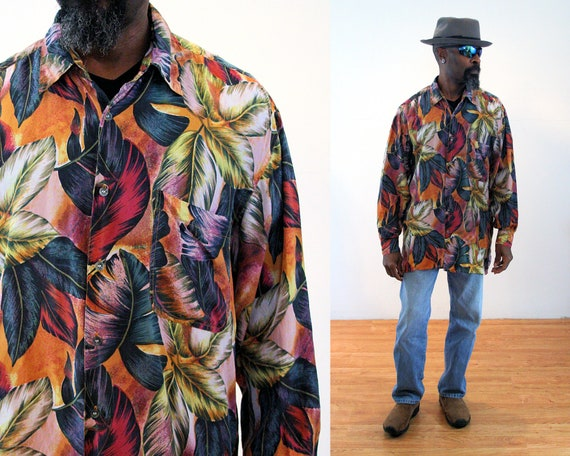 "90s Tropical Silk Shirt L, Colorful Vintage ""Rober"