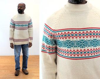 "70s Snowflake Sweater M, Vintage Striped ""Kingsport"" Raglan Sleeve Retro Men's Pullover, Medium"