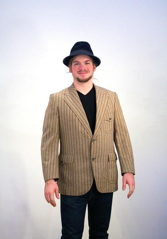 70er Jahre Mod Sport Mantel 42R, Tan gestreift westlichen Stil Blazer Retro Carnaby Street Herren Jacke, 42 groß
