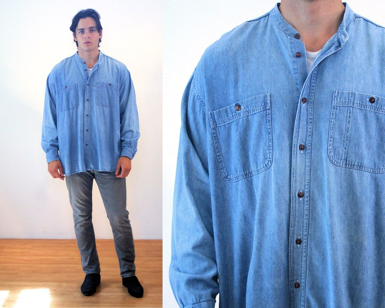 891e3d8eb4 90s Denim Shirt M Men s Vintage Oversized Blue Jean
