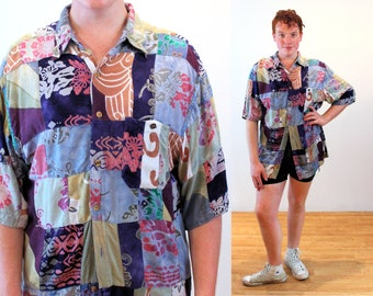 90s Territory Ahead Shirt XL, Artsy Patchwork Vintage Hippie India Rayon Oversized Button Up, Extra Large