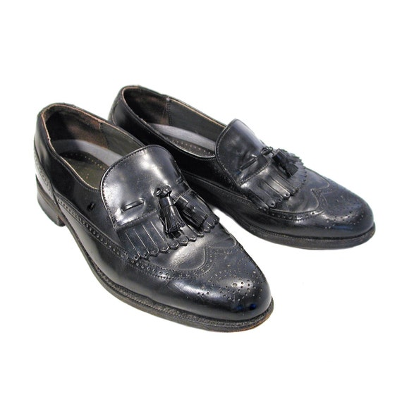 80s Men's Black Leather Loafers 8.5 C, Dexter Kilt