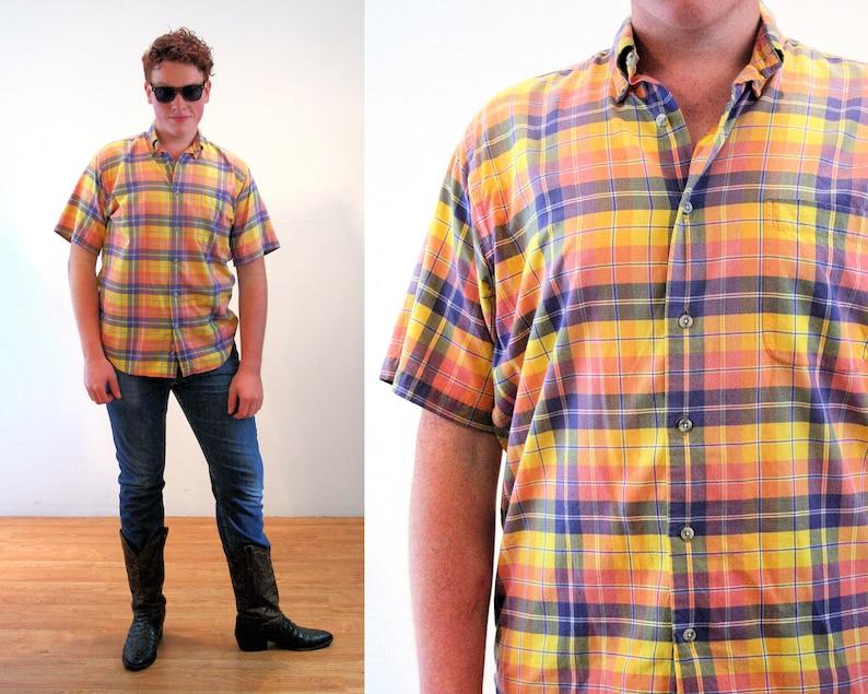 India Cotton Men/'s Retro Short Sleeve Preppy Oversized Medium 80s Yellow Madras Plaid Shirt M L