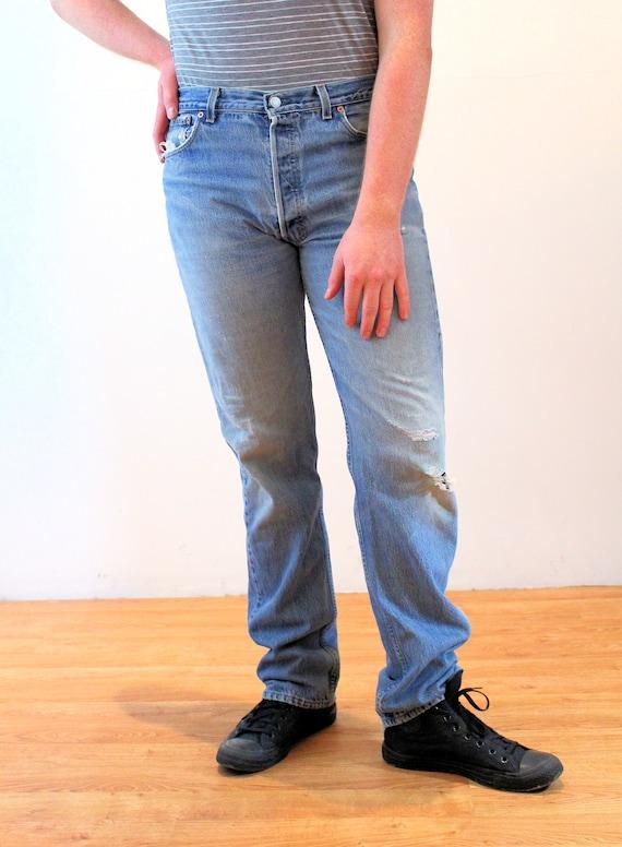 90s Levi's 501 Blue Jeans 36 x 36, Vintage Trashe… - image 5