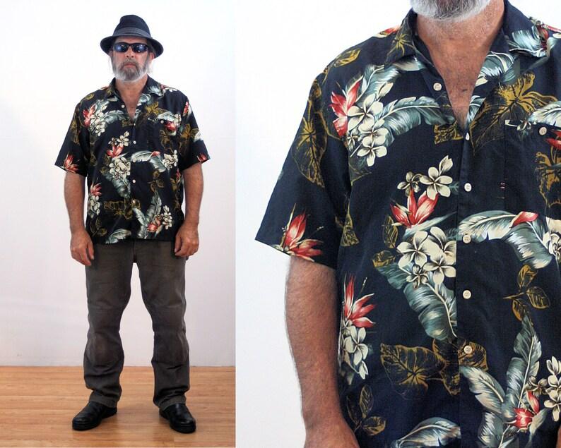 1f540af2 90s Hawaiian Shirt XL Men's Silky Black Floral Leaf Print | Etsy