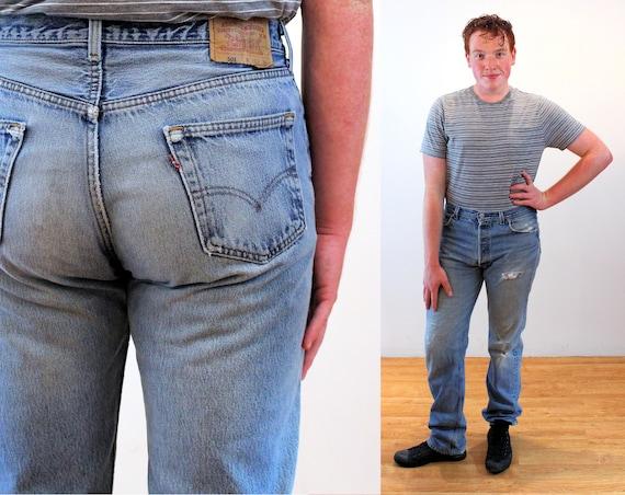 90s Levi's 501 Blue Jeans 36 x 36, Vintage Trashe… - image 1