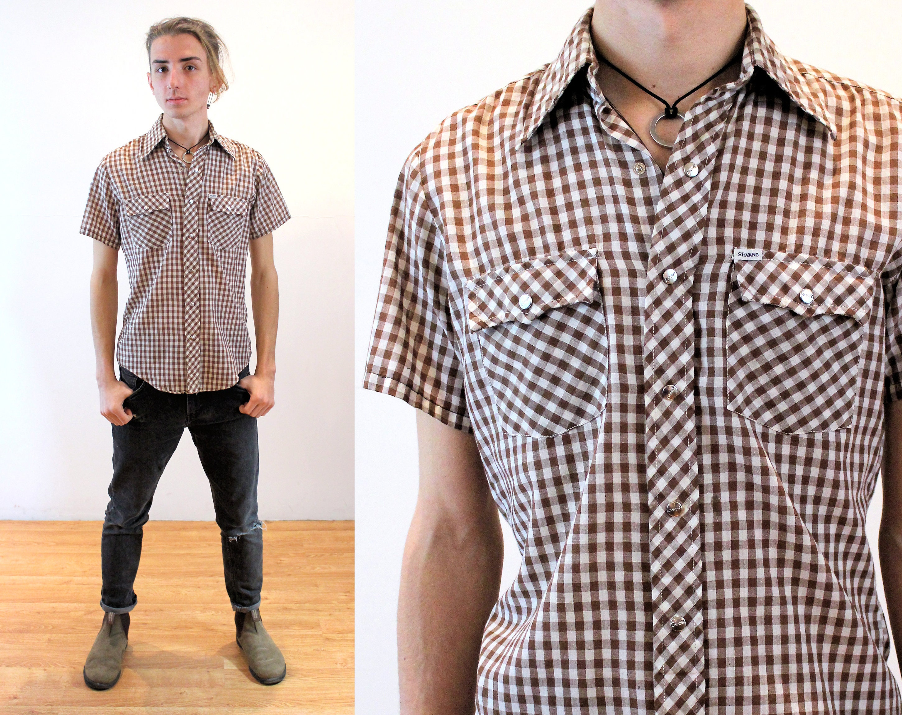 1970s Men's Shirt Styles – Vintage 70s Shirts for Guys 70S Western Gingham Shirt S, Vintage Mens Unisex Silvano Brown White Checkered Snap Up, Small $37.00 AT vintagedancer.com