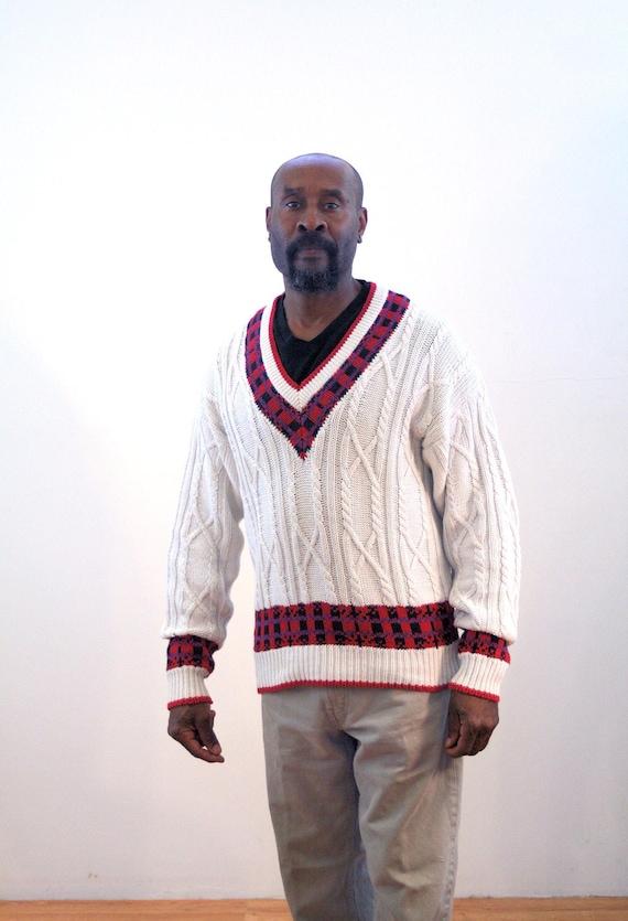 80s Preppy Sweater M, Cotton V Neck Men\u0027s Alexander Julian Cable Knit  Designer Vintage Pullover Jumper, Medium