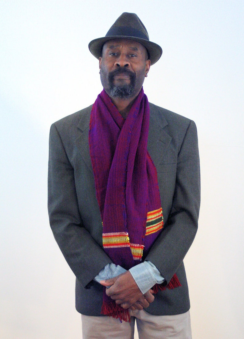 80s Purple Striped Scarf Men S Cotton Flecked Vintage Etsy