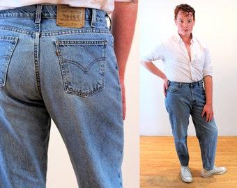 90s Levi's 560 Jeans 36 x 29, Loose Fit Tapered Leg Vintage Orange Tab Cotton Denim