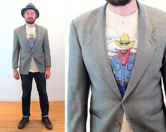 80s Mani Jacket M 38 Short, Gray Pure Wool Armani Italy Vintage Men's Blazer, Medium