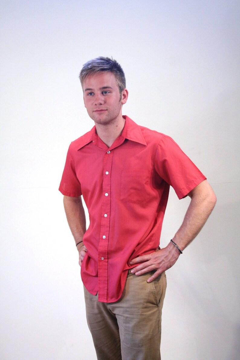 0e4911cca30 70s Men s Pink Shirt L Vintage Preppy Summer Short Sleeve
