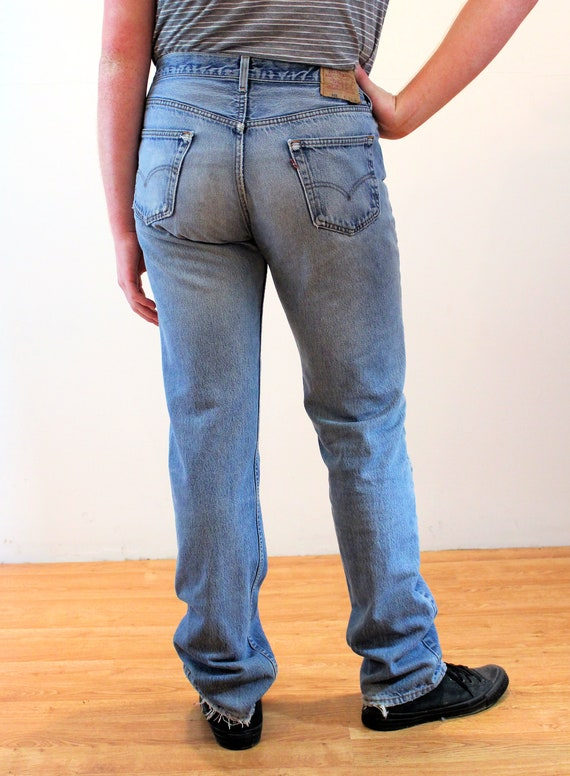 90s Levi's 501 Blue Jeans 36 x 36, Vintage Trashe… - image 3