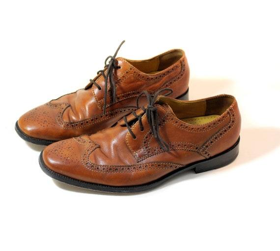 80s Cole Haan Wingtips, Men's Size 8.5, Brown Sadd