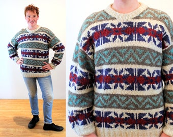 80s Ecuador Ski Sweater L XL, Vintage Quito Chunky Patterned Heavy Wool Men's Pullover, Large or Extra Large