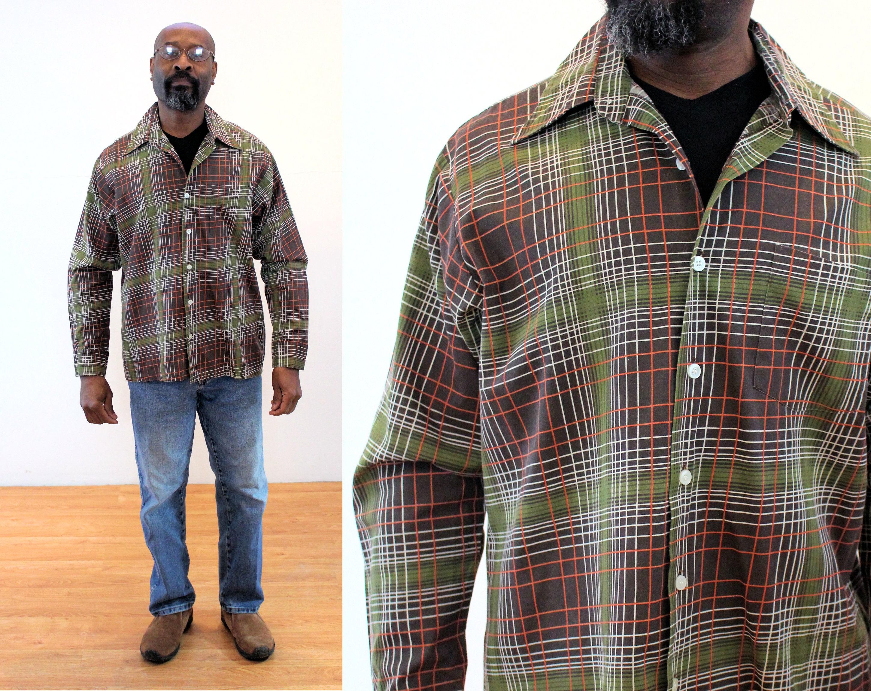 1960s – 70s Men's Ties | Skinny Ties, Slim Ties 50S Shadow Plaid Shirt 16-12 L, Mens Vintage Mid Century Olive Green Grid Print 1950S 60S, Large $62.00 AT vintagedancer.com