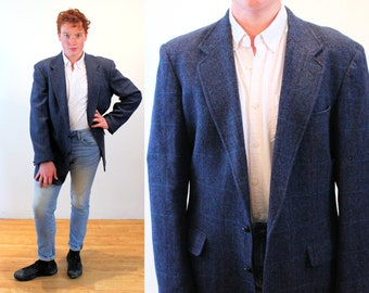 80s Blue Herringbone Jacket 46 XL, Vintage Poland Men's Wool Plaid Blazer, Extra Large Tall