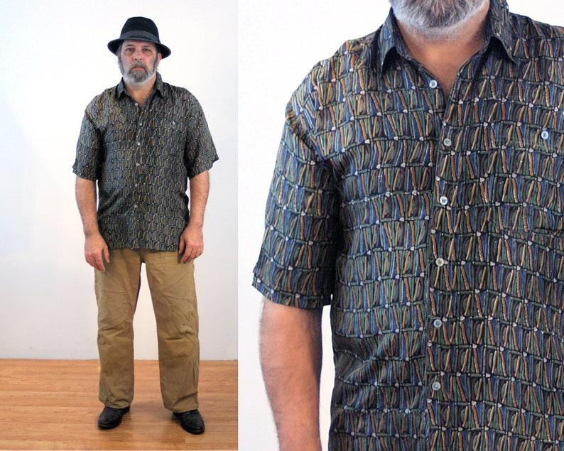 7e799dd9eba 90s Bogari Silk Shirt L Men s Light Sand Washed Vintage
