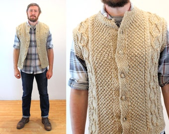 70s Fisherman's Sweater Vest L, Hand Knit Vintage Heavy Oatmeal Wool Button Up Men's, Large