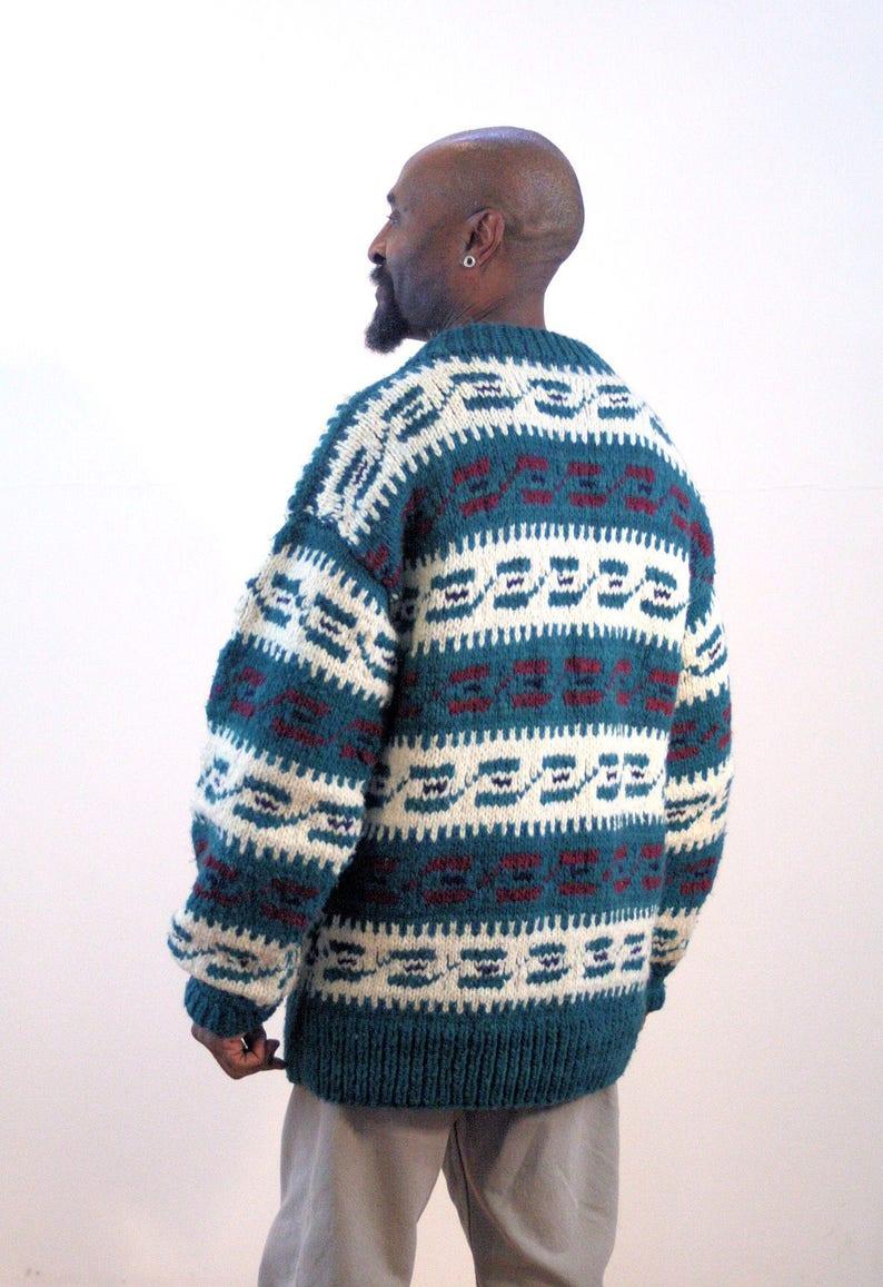 Vintage Wool Ethnic South American Geometric Pattern Chunky Heavy Holiday Winter Alpine Unisex Ski Jumper Large 90s Ecuadorean Sweater L