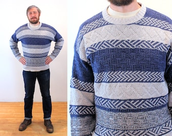 """90s Cotton Sweater M L, Vintage Men's Blue Gray Striped """"Timber Trail"""" Pullover, Medium Large"""