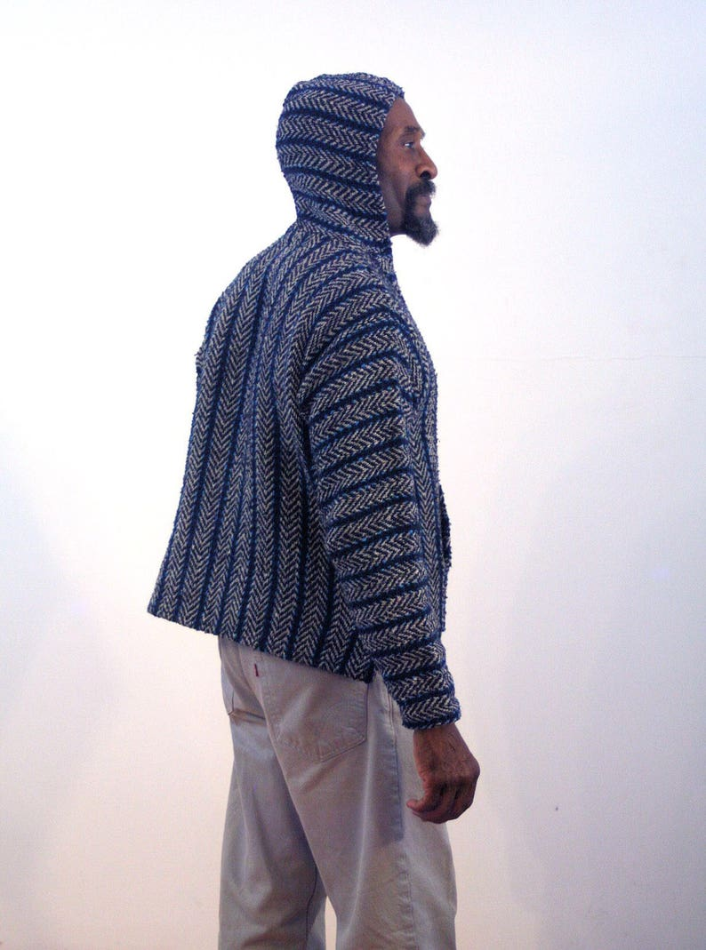 Unisex Drug Rug Bohemian Beach Sweater Mexican Vintage Boho Blue Black Surfer Pullover Medium 90s Baja Hoodie M