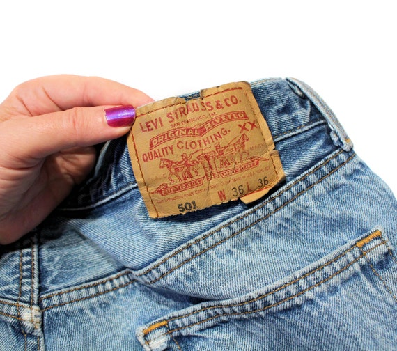 90s Levi's 501 Blue Jeans 36 x 36, Vintage Trashe… - image 6