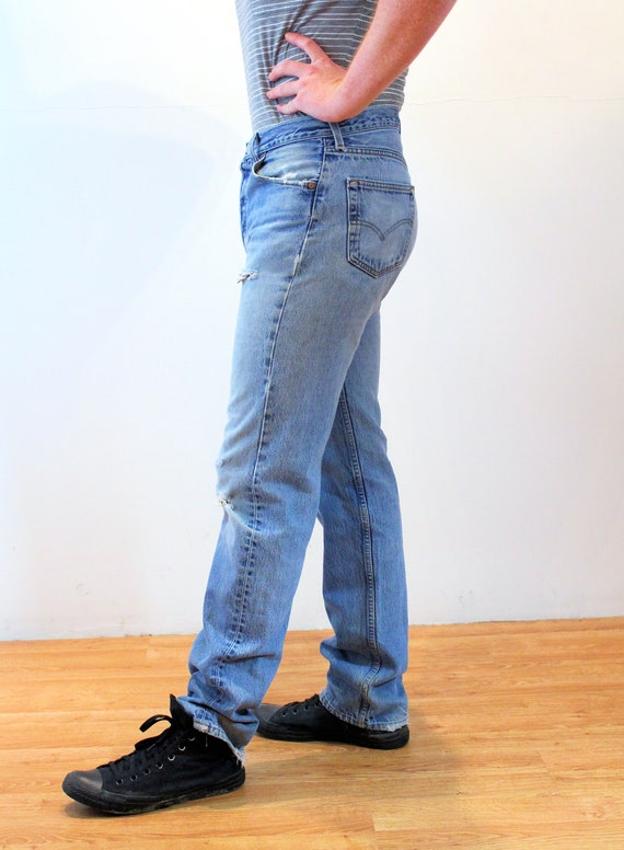 90s Levi's 501 Blue Jeans 36 x 36, Vintage Trashe… - image 4
