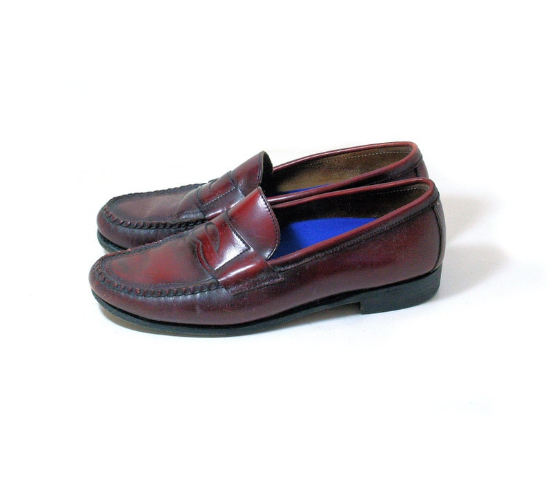 5dbab334fa84b 80s Men's Penny Loafers 10 D, Brown Leather Slip On Preppy Vintage Casual  Shoes, US 10D