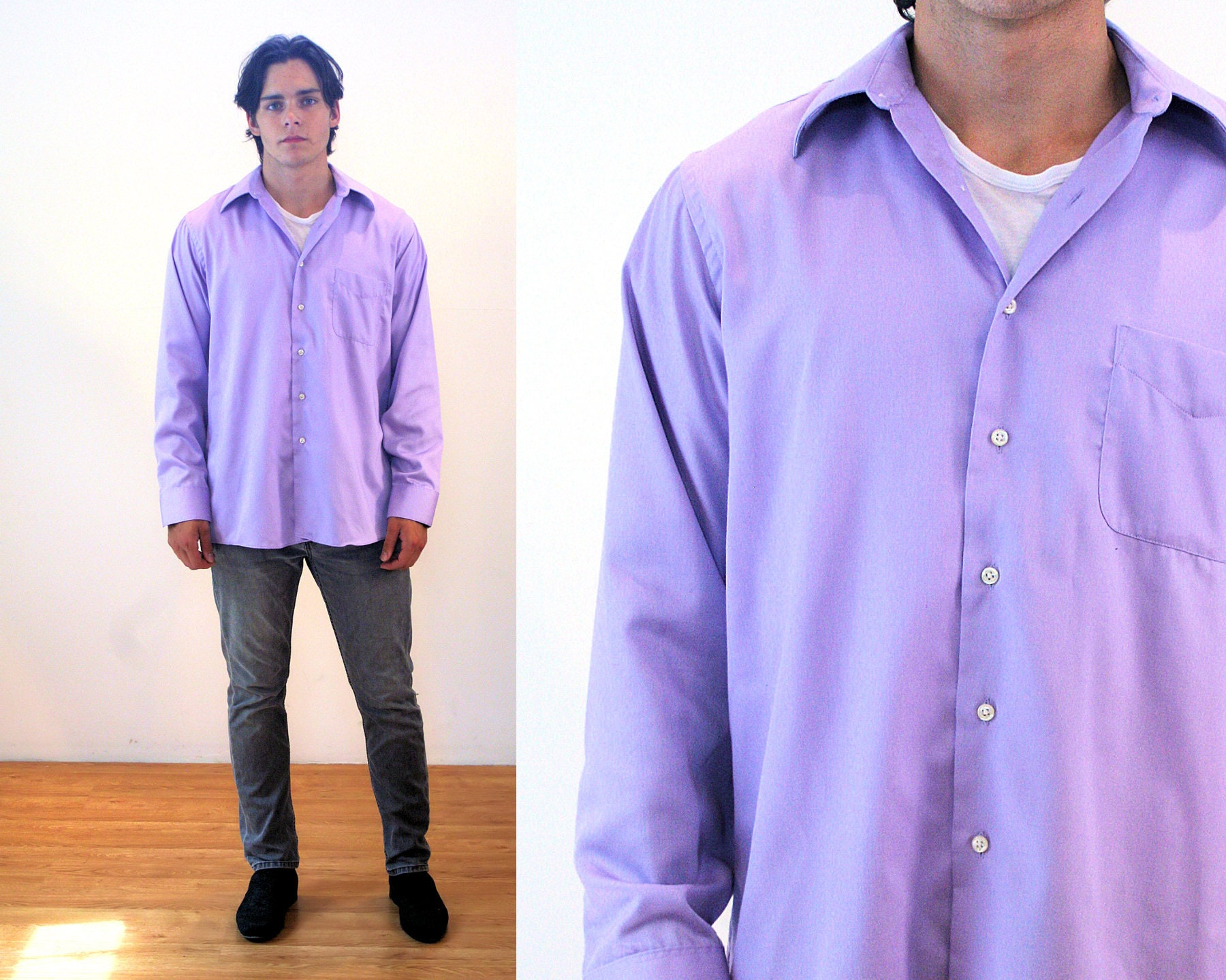 90s Geoffrey Beene Dress Shirt L Mens Purple Lavender Etsy