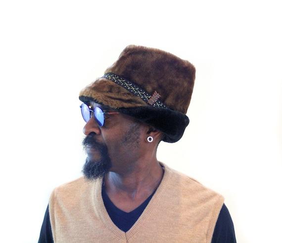d83ee24c4b5 60s Faux Fur Hat L Men s Sherpa Shearling Vintage
